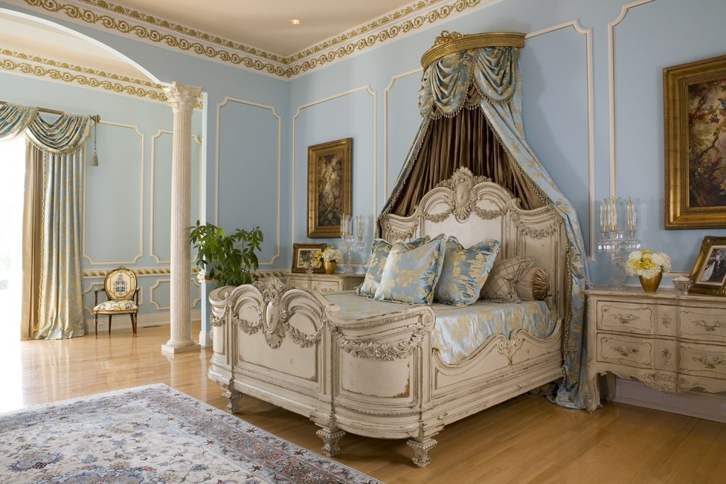 Custom Bedroom with blue, beige and gold accents with antiqued furniture