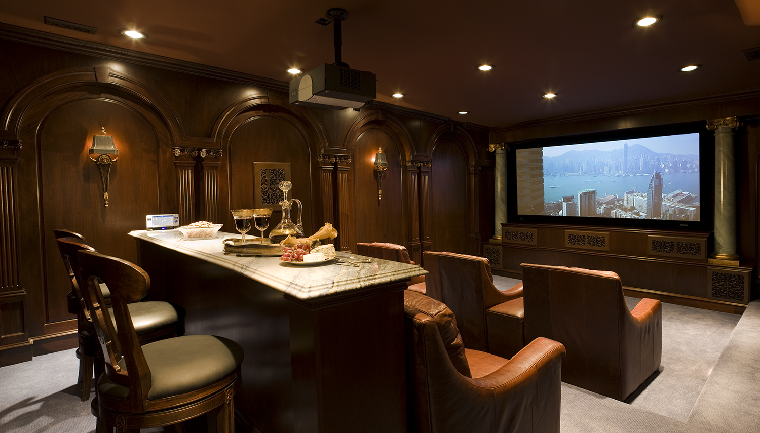 Luxury Home Theater with Leather Lounge Reclining Seats