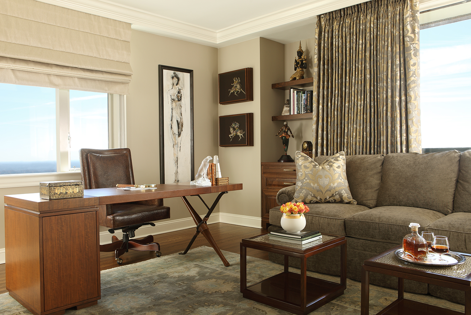 Masculine Office design with neutral palette.