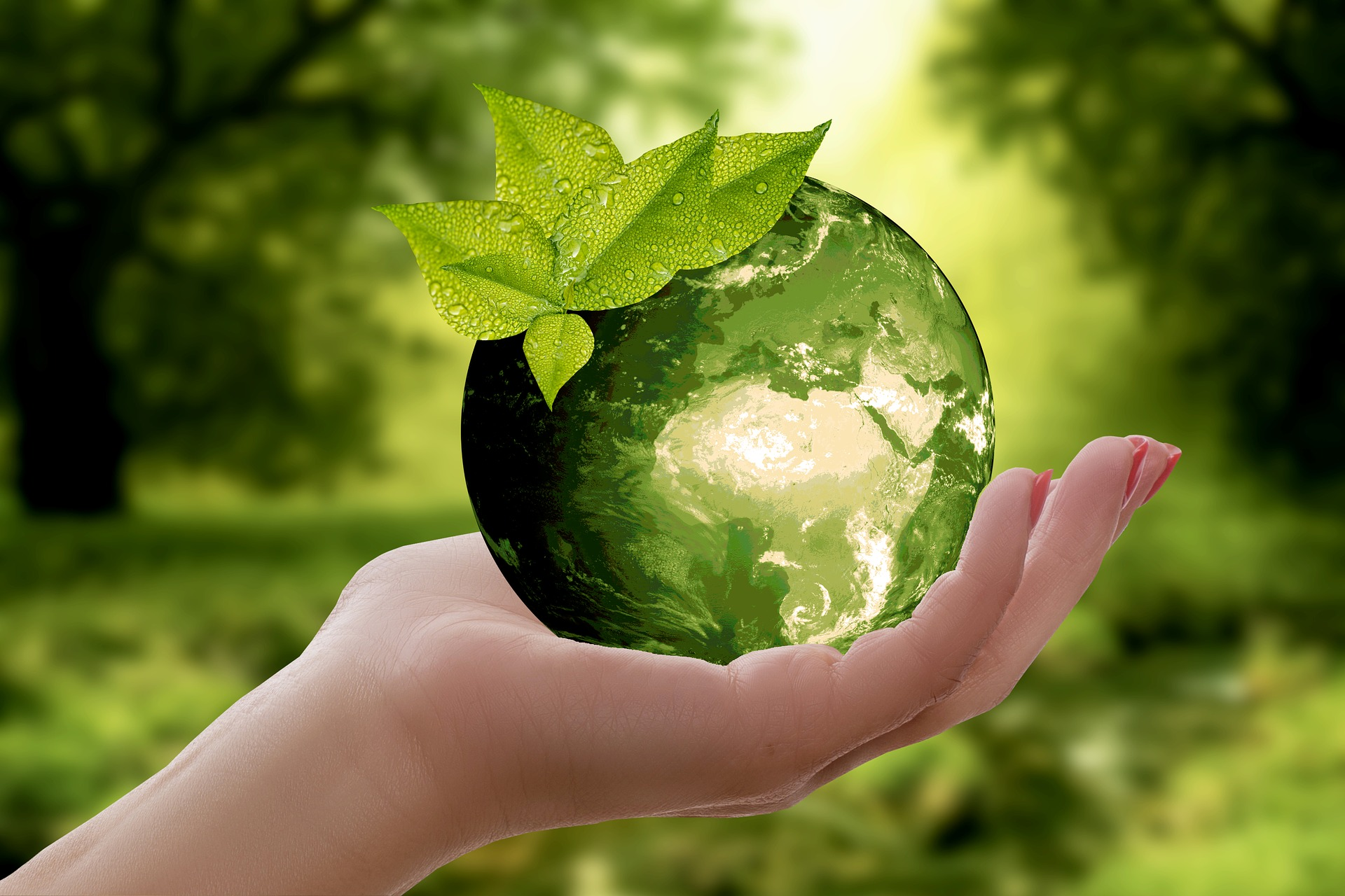 green earth ball in woman's hand
