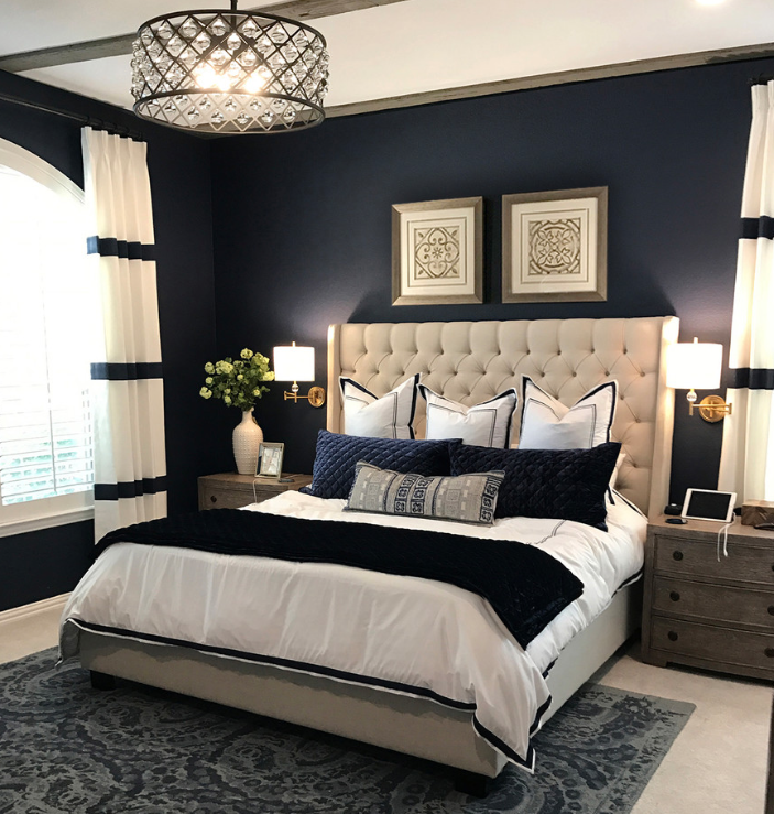 Master Bedroom with Navy and White