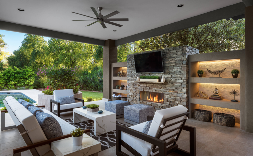 Outdoor Living room with custom built-in cabinets and entertainment center